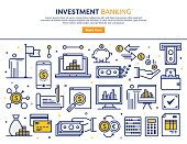 Line vector illustration of investment banking services. Banner/Header Icons.