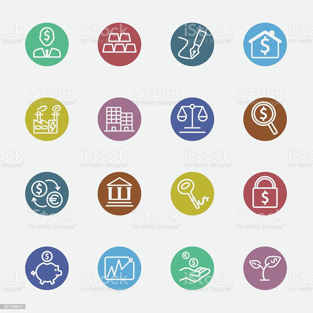 Investment color circles line icon investment color circles line icon – cliparts vectoriels et plus d'images de affaires finance et industrie libre de droits