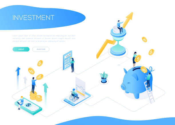 Investment concept - colorful isometric vector web banner vector art illustration