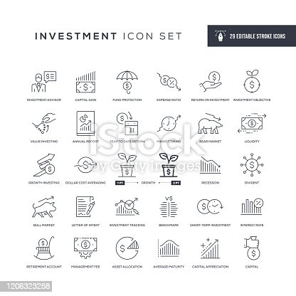 29 Investment Icons - Editable Stroke - Easy to edit and customize - You can easily customize the stroke with