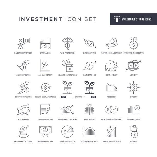 ilustraciones, imágenes clip art, dibujos animados e iconos de stock de iconos de línea de trazo editables de inversión - inversión