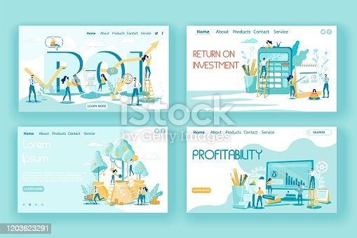 Investment Efficiency in Business and Profitability Landing Page Set. ROI, Investing Plans and Strategy, Financial Benefits and Income Calculation. Profit Opportunity. Vector Illustration