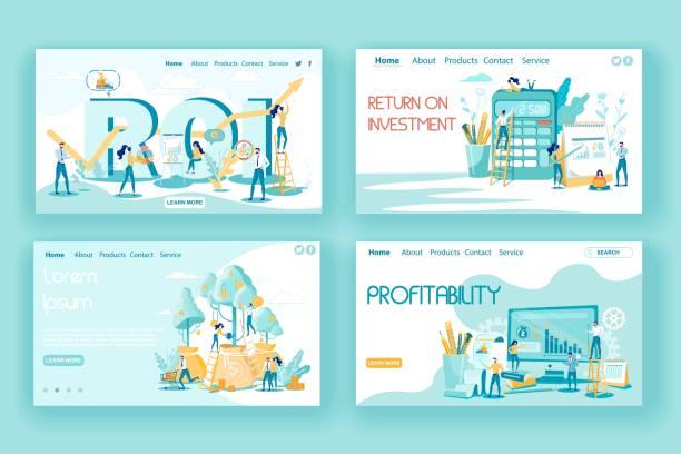 illustrazioni stock, clip art, cartoni animati e icone di tendenza di investment efficiency in business landing page set - repubblica d'irlanda