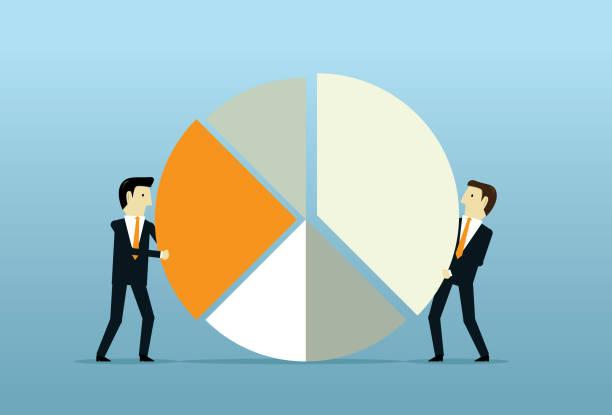 stockillustraties, clipart, cartoons en iconen met investeringen cirkel groeimeter - aandelen