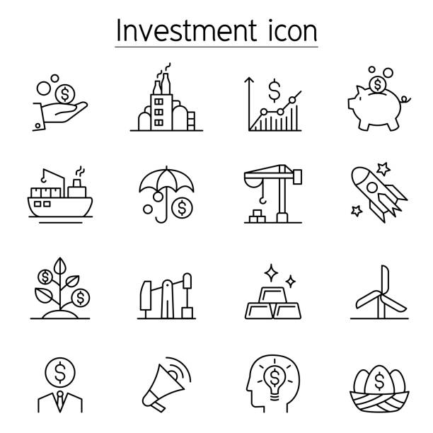 Investment icon set in thin line style Investment icon set in thin line style economic reform stock illustrations