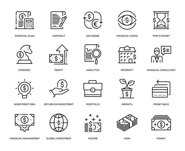 ilustrações, clipart, desenhos animados e ícones de conjunto de ícones de investimento - empréstimo