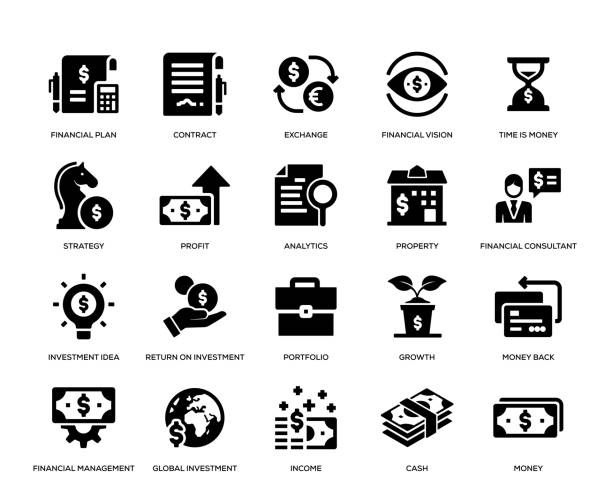 stockillustraties, clipart, cartoons en iconen met investering icon set - portfolio tas