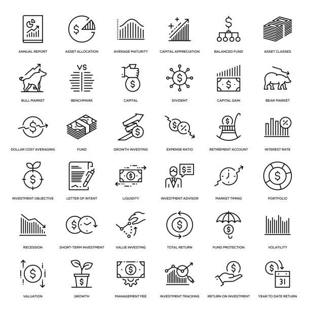 ilustrações, clipart, desenhos animados e ícones de jogo do ícone do investimento - economia