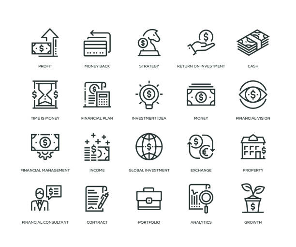 Investment Icons - Line Series Investment Icons - Line Series time is money stock illustrations
