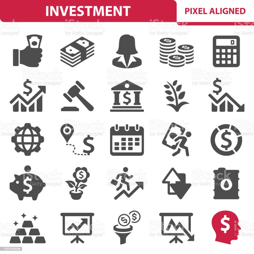 Investment Icons Professional, pixel perfect icons, EPS 10 format. Accountancy stock vector