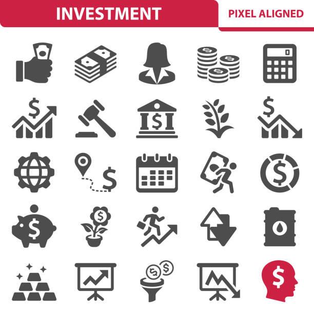ilustrações, clipart, desenhos animados e ícones de ícones de investimento - economia