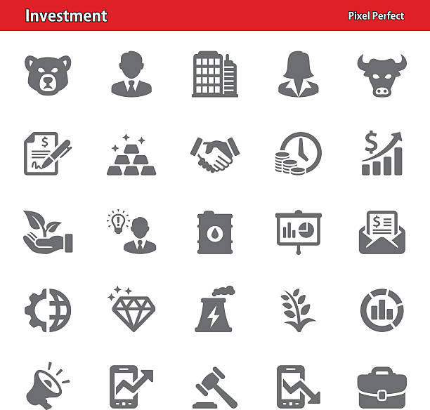 Investment Icons Professional, pixel perfect icons depicting investment concepts (optimized for both large and small resolutions). time is money stock illustrations