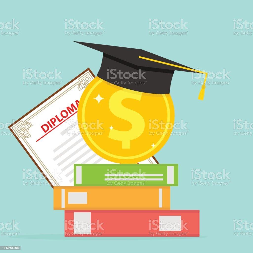 Investitionen in die Bildung. Eine Goldmünze mit Büchern und ein Diplom Cap. - Lizenzfrei Akademisches Lernen Vektorgrafik