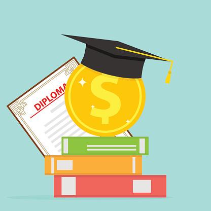 Investitionen In Die Bildung Eine Goldmünze Mit Büchern Und Ein Diplom Cap Stock Vektor Art und mehr Bilder von Akademisches Lernen