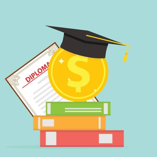 ilustraciones, imágenes clip art, dibujos animados e iconos de stock de inversión en educación. una moneda de oro con libros y un posgrado. - estudiar