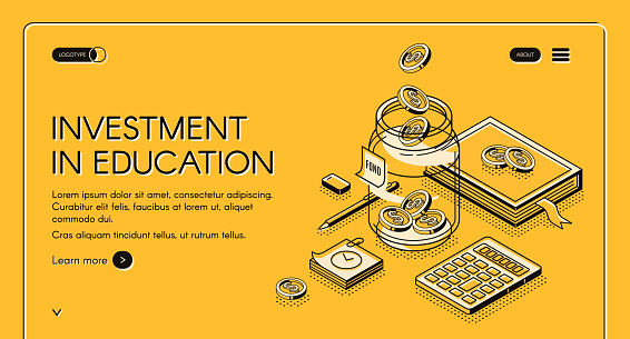 Investment in education isometric landing page