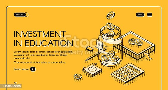 istock Investment in education isometric landing page 1198435885