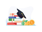 Investment in education. Scholarship. Books, graduation hat and stack of coins. Education in Global world, Graduation cap on books stack. Concept of global business study, abroad educational.