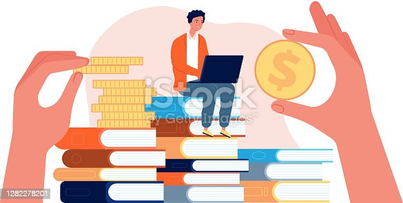 Investment in education. Student with laptop sit on stack of books. Hands holding coins vector illustration. Investment in knowledge, scholarship finance