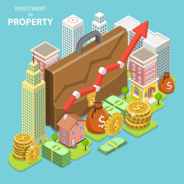 illustrations, cliparts, dessins animés et icônes de investissement dans le concept de propriété vector plate isométrique. - nouveau foyer