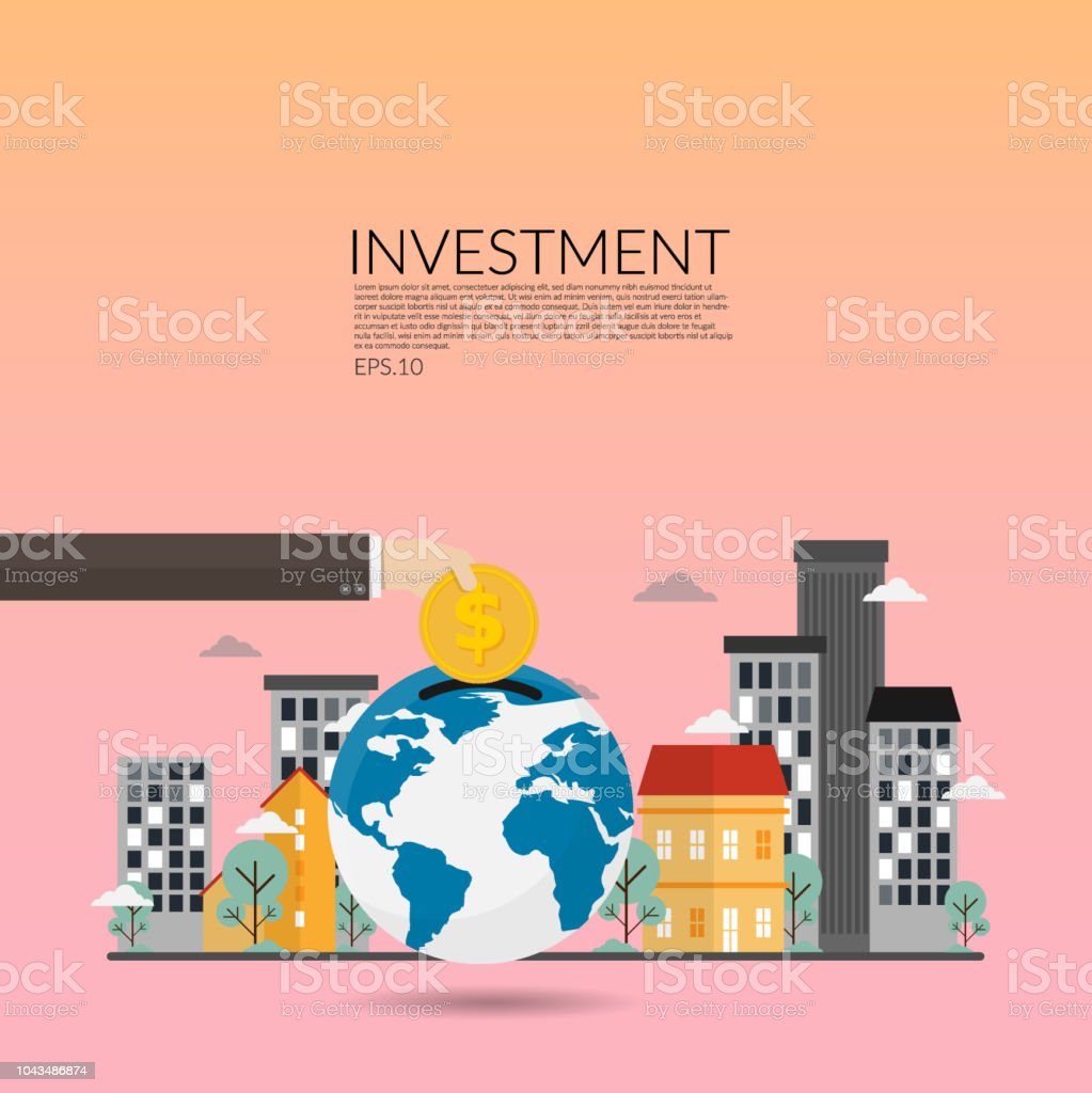 investment in real estate. creative vector of financial investments, marketing, analysis,financial savings and money turnover. businessman hand with gold coin and commercial building at background