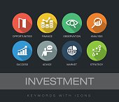 Investment chart with keywords and icons. Flat design with long shadows