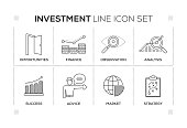 Investment keywords with monochrome line icons