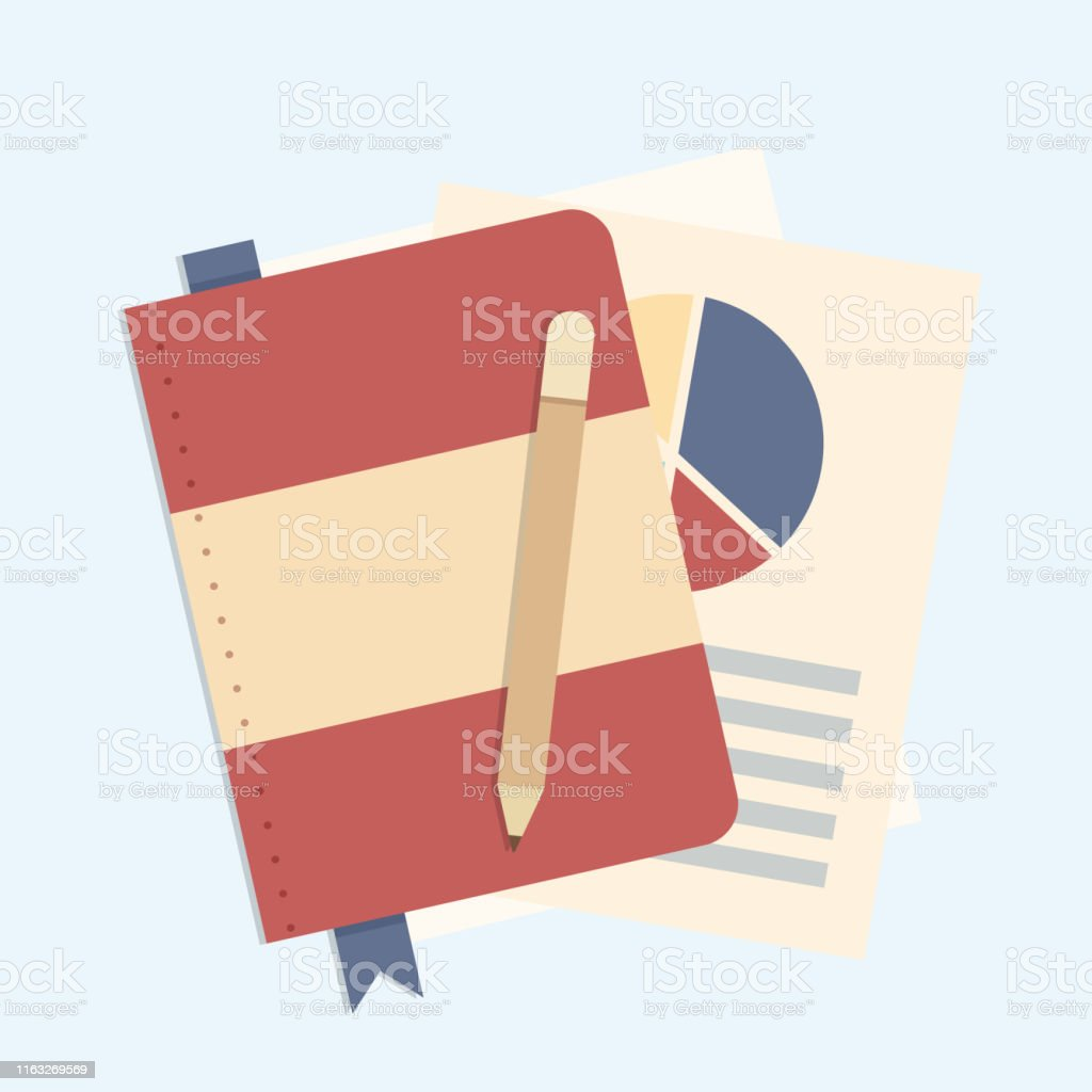 Investment note book with education infographic template with books