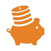istock Investment, orange piggy bank icon 1261974409