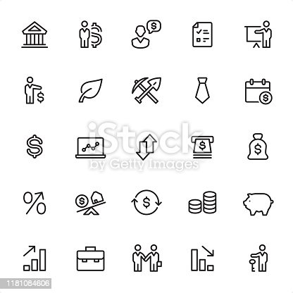 Investment - 25 Outline Style - Single black line icons - Pixel Perfect / Pack #97 / Icons are designed in 48x48pх square, outline stroke 2px.  First row of outline icons contains:  Bank, Businessman, Speaking Wages, Checklist, Presentation;  Second row contains:  Finance, Leaf, Mining, Necktie, Calendar;  Third row contains:  Dollar Sign, Laptop, Arrows, ATM, Money Bag;   Fourth row contains:  Percentage Sign, Mortgage, Exchange, Savings, Piggy Bank;  Fifth row contains: Moving Up, Briefcase, Partnership, Moving Down, Deposit Box.  Complete Grandico collection - https://www.istockphoto.com/collaboration/boards/FwH1Zhu0rEuOegMW0JMa_w