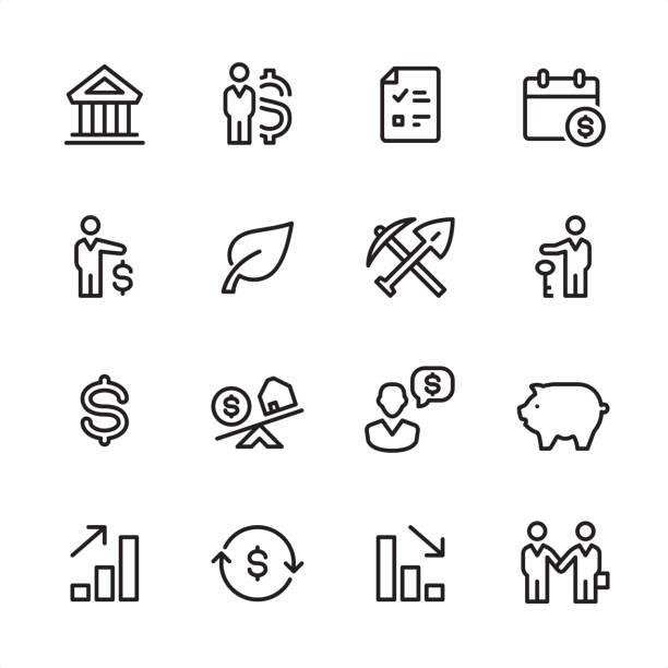 ilustraciones, imágenes clip art, dibujos animados e iconos de stock de inversión - conjunto de iconos de contorno - corredor de bolsa