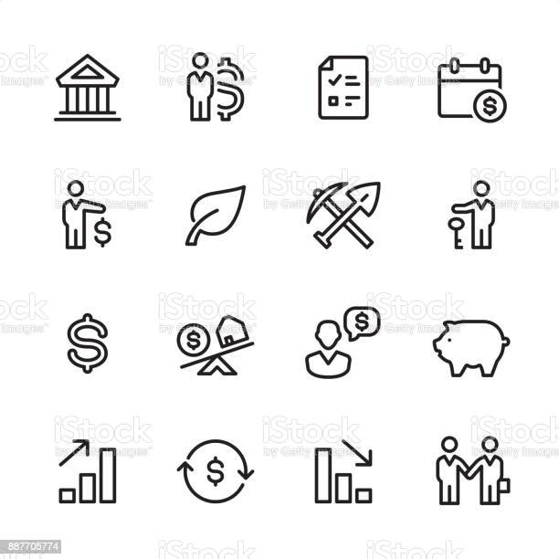 16 line black and white icons / Investment Set #31
