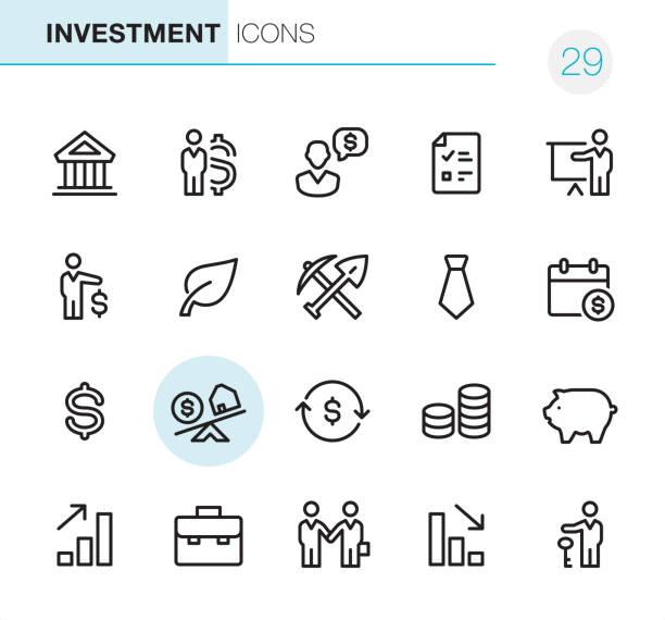 investitionen - pixel perfect icons - schlüsselfertig stock-grafiken, -clipart, -cartoons und -symbole