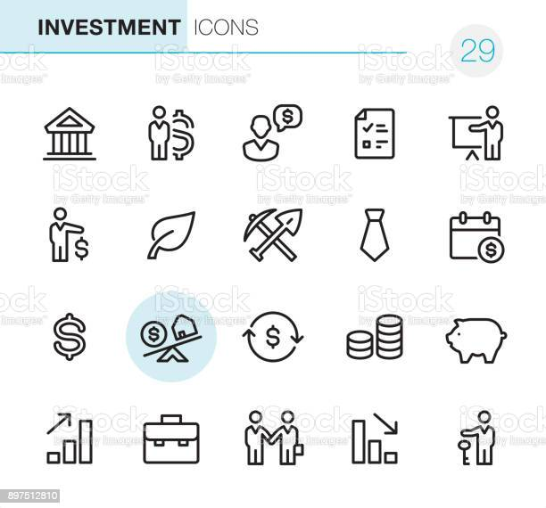 20 Outline Style - Black line - Pixel Perfect icons / Set #29 Investment / Icons are designed in 48x48pх square, outline stroke 2px.