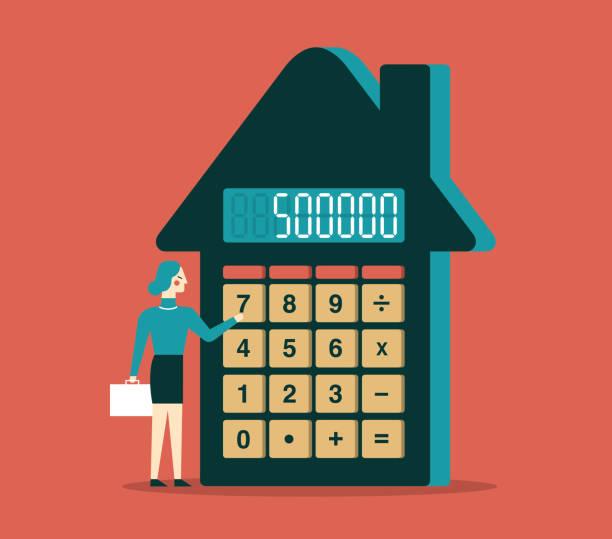 bildbanksillustrationer, clip art samt tecknat material och ikoner med investeringsplanen - affärskvinna - husägande