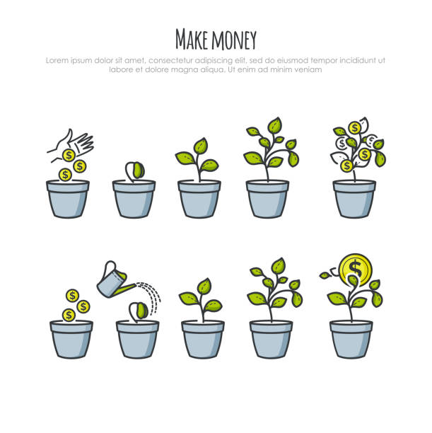 Investment Process with money tree and businessman hand vector illustration. Investments and financial business growth concept. Growing money tree Investment Process with money tree and businessman hand vector illustration. Investments and financial business growth concept. Growing money tree for your design money tree stock illustrations