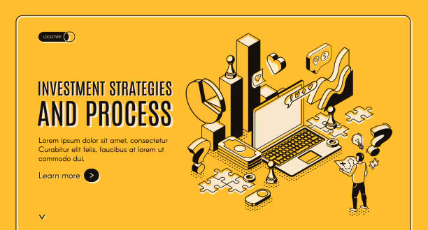 Investment strategies and process isometric banner vector art illustration