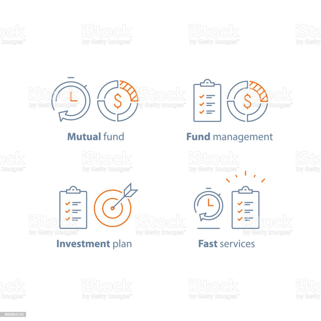 Investment strategy, finance solution, business plan, project management, financial summary, brief report, fast service vector art illustration