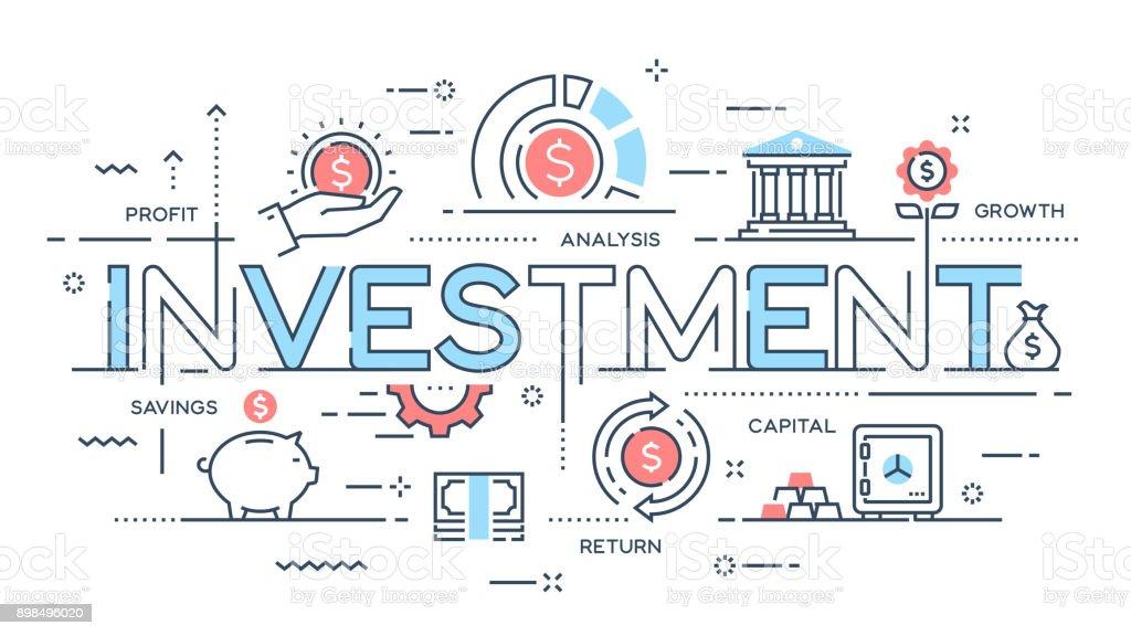 Inversión, estrategia, ganancias, capital, crecimiento, concepto de delgada línea ahorro. - ilustración de arte vectorial