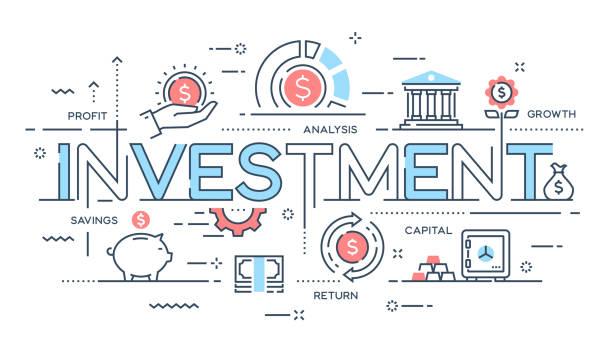 ilustrações, clipart, desenhos animados e ícones de investimento, estratégia, lucro, capital, crescimento, conceito de linha fina de poupança. - investimento