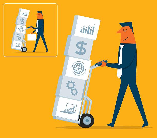 strategia inwestycyjna - wózek transportowy stock illustrations