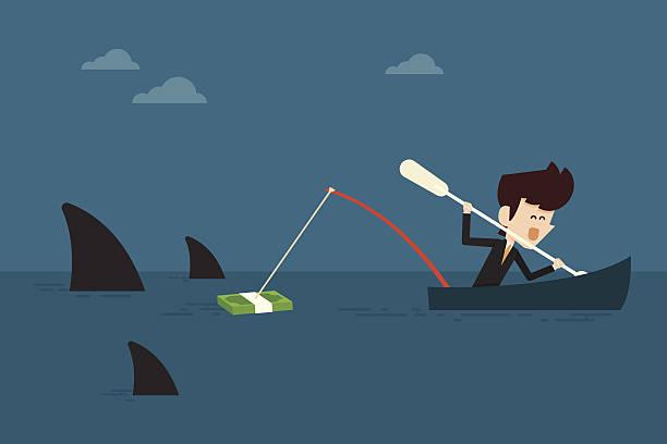 investitionen - haifischköder stock-grafiken, -clipart, -cartoons und -symbole