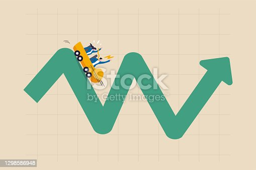 istock Investment volatility metaphor of riding roller coaster, financial stock market fluctuation rising up and falling down concept, people investors riding roller coaster on fluctuated market chart. 1298586948