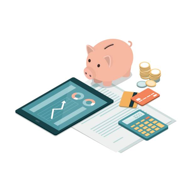 Investments and savings Piggy bank, credit cards, tablet, calculator and money on a financial contract: deposit, funds, savings and investments concept piggy bank stock illustrations