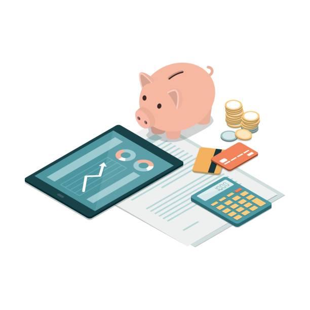 ilustrações, clipart, desenhos animados e ícones de investimentos e poupança - empréstimo