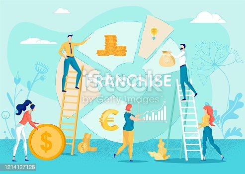Business People Cartoon Characters on Pie Diagram Backdrop with Money Symbols and Franchise - Word. Investments in Brand Development and Franchising License Distribution. Flat Vector Illustration.