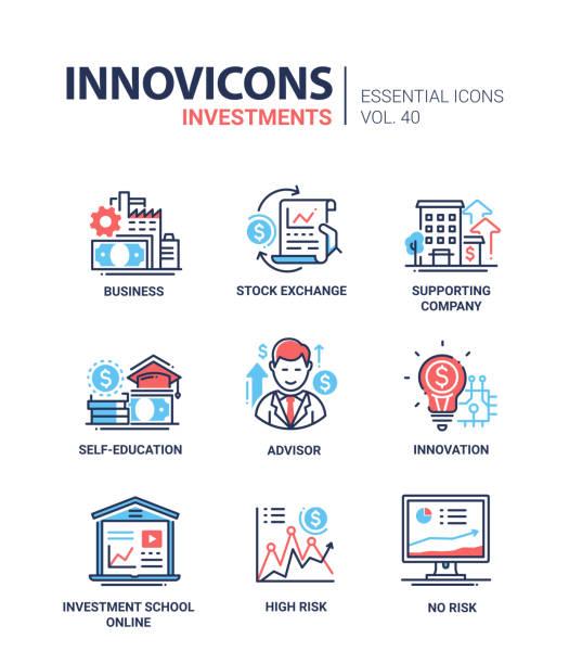 ilustraciones, imágenes clip art, dibujos animados e iconos de stock de inversiones - conjunto de iconos de diseño de línea moderna vector. - asesor financiero