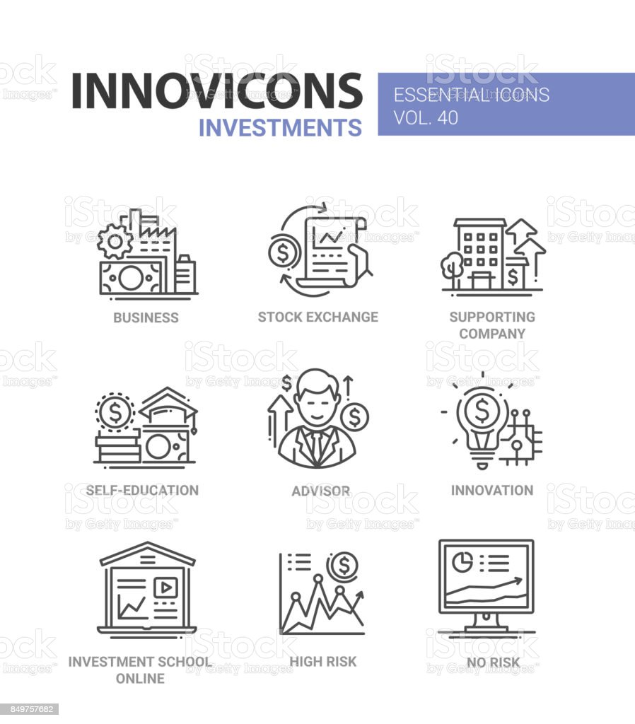 Investments Modern Vector Line Design Icons Set Stock Illustration