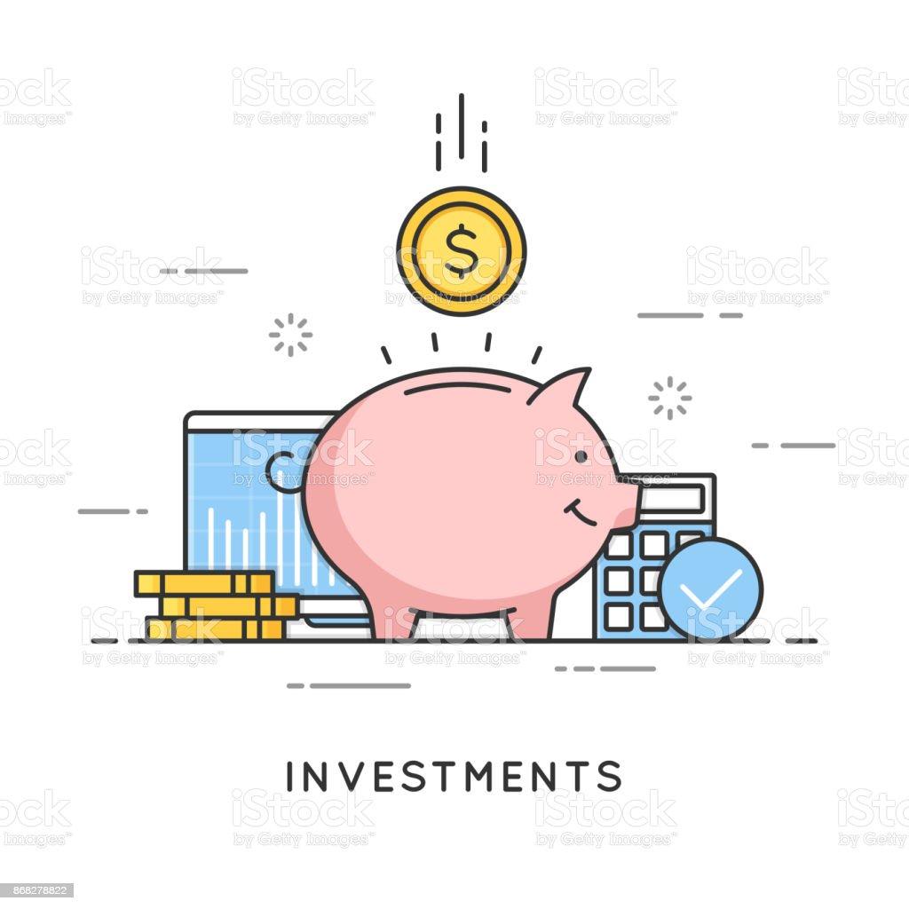 Investments, money savings, budget management, financial profit. Flat line art style concept. Vector banner, icon, illustration Editable stroke vector art illustration