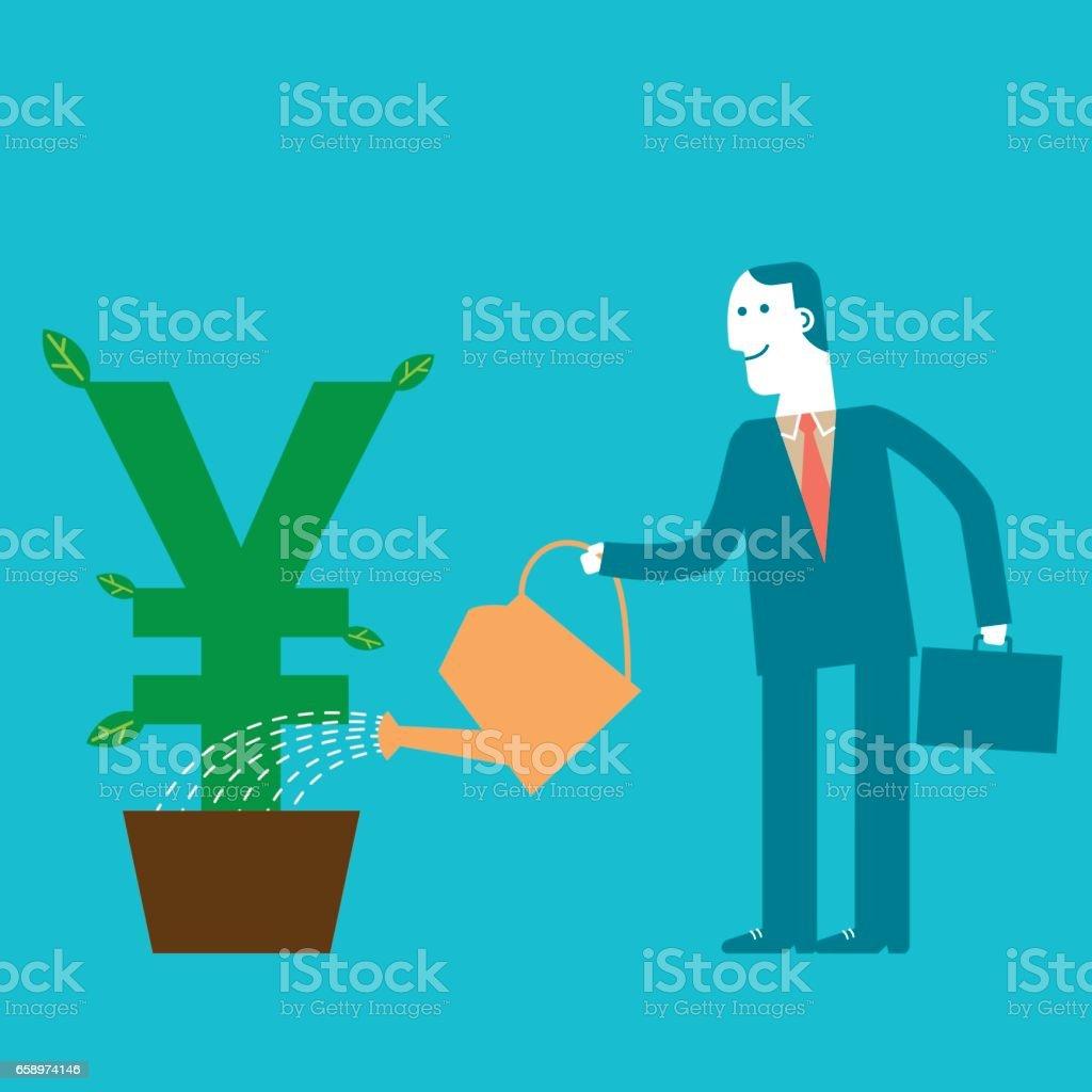 Investor Businessman watering Yen/Yuan Plant | New Business Concept vector art illustration
